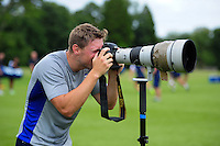 Rhys Priestland of Bath Rugby tries his hand at photography. Bath Rugby pre-season training session on August 9, 2016 at Farleigh House in Bath, England. Photo by: Patrick Khachfe / Onside Images