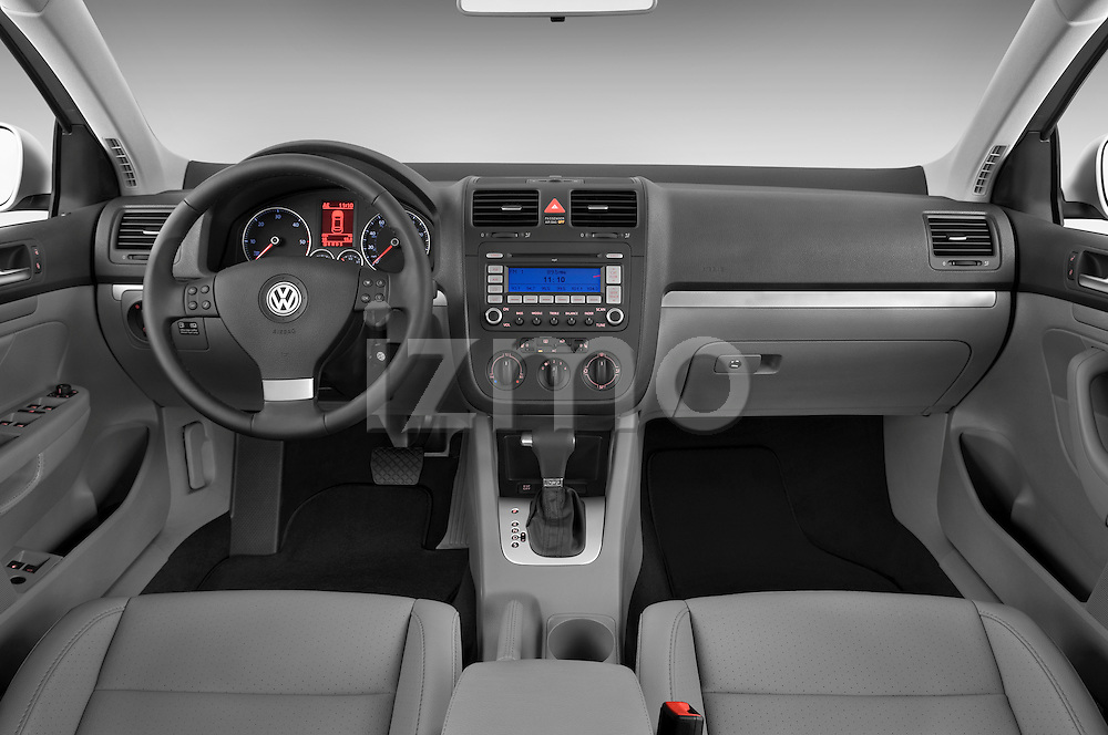 Straight dashboard view of a 2009 Volkswagen Jetta TDI.