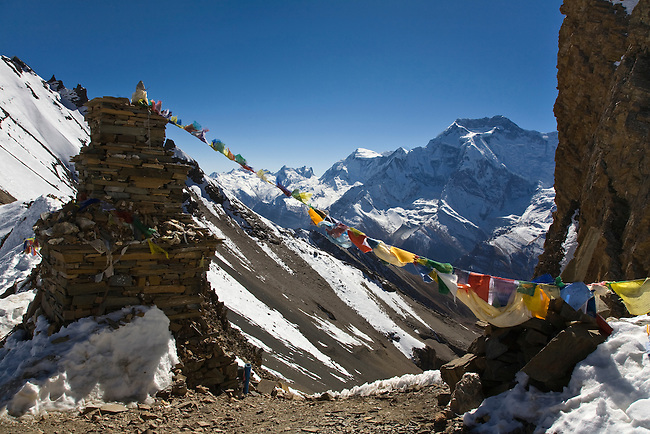 STONE CHORTEN and ANNAPURNA THREE at 7553 meters as seen from the KANG LA PASS on the NAR PHU TREK - ANNAPURNA CONSERVATION AREA