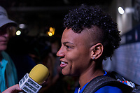 PHILADELPHIA, PA - AUGUST 29: Adrianna Franch #21 of the United States talks to the media during a game between Portugal and the USWNT at Lincoln Financial Field on August 29, 2019 in Philadelphia, PA.