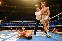 Archie Sharp (blue shorts) defeats Declan Geraghty during a Boxing Show at the Royal Albert Hall on 27th September 2019