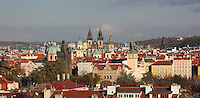 View over the Old Town with the Gothic Old Town bridge tower at the end of the Charles Bridge or Karluv most, and the spires of the Church of Our Lady before Tyn in the centre, Prague, Czech Republic. The historic centre of Prague was declared a UNESCO World Heritage Site in 1992. Picture by Manuel Cohen
