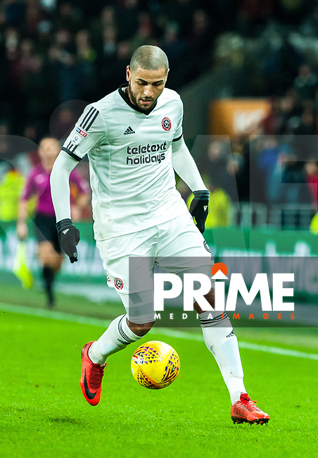 Sheffield United's forward Leon Clarke (9) during the Sky Bet Championship match between Hull City and Sheff United at the KC Stadium, Kingston upon Hull, England on 23 February 2018. Photo by Stephen Buckley / PRiME Media Images.