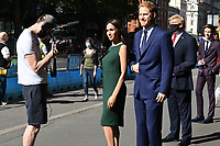 London, UK - 30 July 2020<br /> Madame Tussauds most popular figures 'queue' outside the attraction to celebrate the reopening to the public this Saturday 1st August of one of London's most notable tourist attractions. (L-R) Meghan Duchess of Sussex and Prince Harry, Donald Trump, Eddie Redmayne<br /> CAP/JOR<br /> ©JOR/Capital Pictures