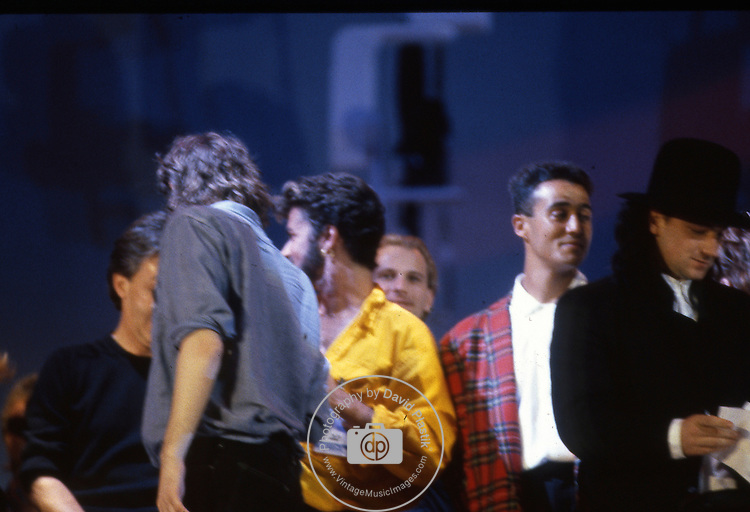 Live Aid 1985 Wembley Stadium, London , England. Bob Geldolf, Paul McCartney, George Michael, Andrew Ridgeley, Bono
