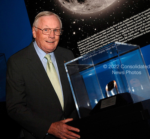 """NASA Administrator Michael Griffin presented the NASA Ambassadors of Exploration award to Neil Armstrong (pictured).  Armstrong recived the award that includes a moon rock to recognize the sacrifices and dedication of the astronauts and others who were part of the Mercury, Gemini and .Apollo programs. A former naval aviator and NASA test pilot and Apollo 11 commander, Armstrong was the first human to ever land a spacecraft on the moon and the first to step on the lunar surface.  Armstrong's award will be displayed at the Cincinnati Museum Center at Union Terminal.   Tuesday, April 18, 2006.  Cincinnati, OH., USA.  Photo Credit: """"NASA/Bill Ingalls"""""""