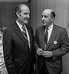 US Senator George S. McGovern Democrat from South Dakota visited Modesto, California to hold a Hearings of the US Senate select committee on nutrition and human needs on March 23, 1970.  Hearing subject was the Modesto Board of Education's decision to withdraw from the National School Lunch Program.  Over 200 persons crowed into the King-Kennedy Memorial Center on Modesto's West Side to hear different viewpoints.  After the hearing Local Democrats sponsored a lunch for the Senator.  Senator McGovern and Modesto attorney Frank Ruggieri.   Photo By Al Golub
