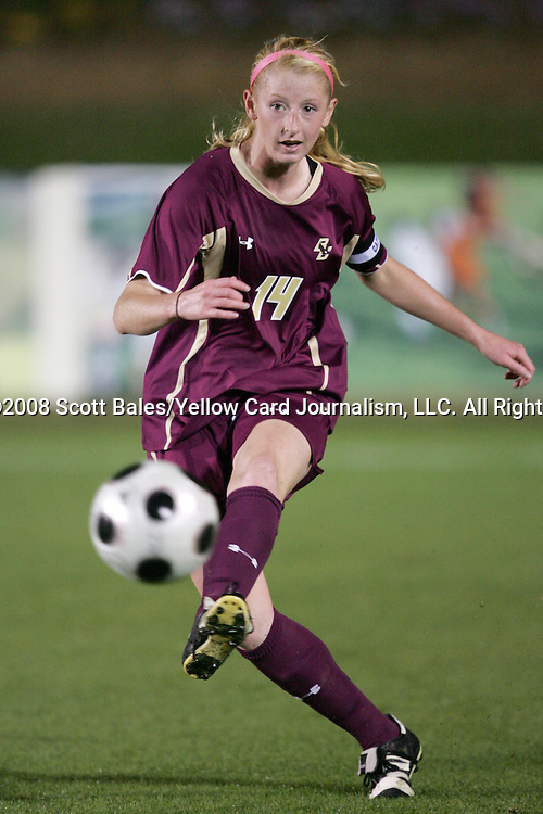 07 November 2008: Boston College's Brianna Wilson-Byrne. The University of North Carolina defeated Boston College 2-0  at WakeMed Stadium at WakeMed Soccer Park in Cary, NC in a women's ACC tournament semifinal game.