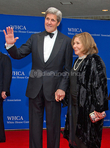 United States Secretary of State John Kerry and his wife, Theresa Heinz Kerry, arrive for the 2016 White House Correspondents Association Annual Dinner at the Washington Hilton Hotel on Saturday, April 30, 2016.<br /> Credit: Ron Sachs / CNP<br /> (RESTRICTION: NO New York or New Jersey Newspapers or newspapers within a 75 mile radius of New York City)/MediaPunch