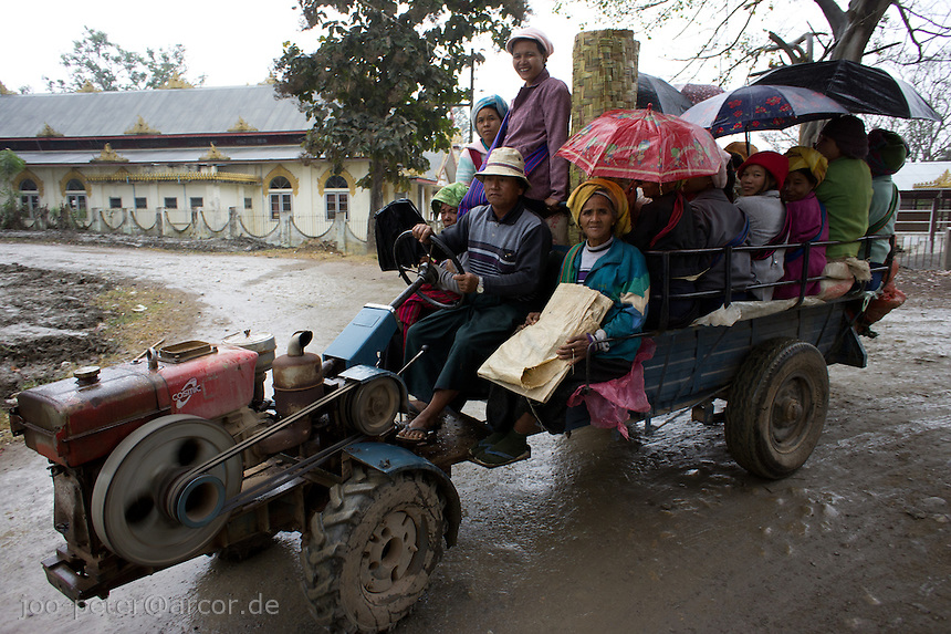 common vehicle in Myanmar country side with open motor (bare-bone car)  in  village  Nyaungshwe close to  Inle Lake, Shan state,  Myanmar, 2011