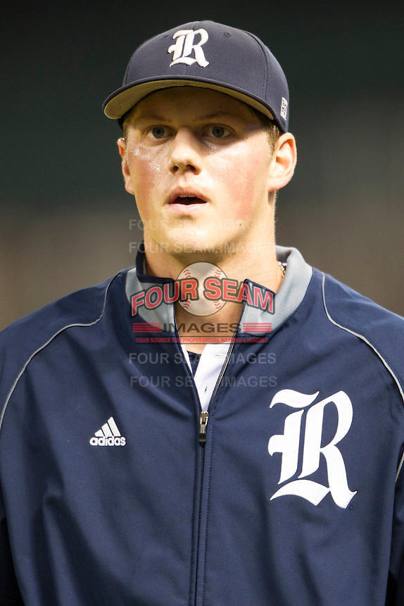 Rice Owls pitcher Blake Fox #26 before the NCAA baseball game against the TCU Horned Frogs on March 1, 2014 during the Houston College Classic at Minute Maid Park in Houston, Texas. Rice defeated TCU 1-0. (Andrew Woolley/Four Seam Images)