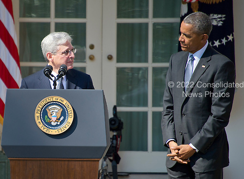 United States President Barack Obama, right, listens as Judge Merrick Garland, chief justice for the US Court of Appeals for the District of Columbia Circuit, left, was announced as his nominee to replace the late Associate Justice Antonin Scalia on the U.S. Supreme Court in the Rose Garden of the White House in Washington, D.C. on Wednesday, March 16, 2016. <br /> Credit: Ron Sachs / CNP