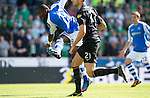 St Johnstone v Celtic....15.09.12      SPL  .Gregory Tade scores for saints.Picture by Graeme Hart..Copyright Perthshire Picture Agency.Tel: 01738 623350  Mobile: 07990 594431