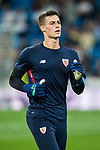 Goalkeeper Kepa Arrizabalaga Revuelta of Athletic Club de Bilbao warms up prior to the La Liga 2017-18 match between Real Madrid and Athletic Club Bilbao  at Estadio Santiago Bernabeu on April 18 2018 in Madrid, Spain. Photo by Diego Souto / Power Sport Images