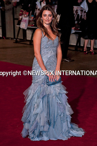"Penelope Cruz.World Premiere of NINE.Attended by the all star cast including Daniel Day-Lewis, Penelope Cruz, Dame Judi Dench, Kate Hudson and Nicole Kidman_Odeon Leicester Square_London, 03/12/2009..Mandatory Photo Credit: ©Dias/Newspix International..**ALL FEES PAYABLE TO: ""NEWSPIX INTERNATIONAL""**..PHOTO CREDIT MANDATORY!!: NEWSPIX INTERNATIONAL(Failure to credit will incur a surcharge of 100% of reproduction fees)..IMMEDIATE CONFIRMATION OF USAGE REQUIRED:.Newspix International, 31 Chinnery Hill, Bishop's Stortford, ENGLAND CM23 3PS.Tel:+441279 324672  ; Fax: +441279656877.Mobile:  0777568 1153.e-mail: info@newspixinternational.co.uk"