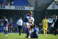 Ipswich Town's James Bree helping team mate Collin Quaner of the ground<br /> <br /> Photographer Hannah Fountain/CameraSport<br /> <br /> The EFL Sky Bet Championship - Ipswich Town v Swansea City - Monday 22nd April 2019 - Portman Road - Ipswich<br /> <br /> World Copyright © 2019 CameraSport. All rights reserved. 43 Linden Ave. Countesthorpe. Leicester. England. LE8 5PG - Tel: +44 (0) 116 277 4147 - admin@camerasport.com - www.camerasport.com
