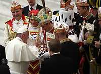 Papa Francesco saluta rappresentanti del carnevale storico della citt&agrave; di Colonia al termine dell'udienza Generale del mercoledi' in aula Paolo VI in Vaticano, 16 gennaio 2019.<br /> Pope Francis speaks with representatives of the historical carnival of the German city of Colonia at the end of his weekly general audience in Paul VI Hall at the Vatican, on January 16, 2019.<br /> UPDATE IMAGES PRESS/Isabella Bonotto<br /> <br /> STRICTLY ONLY FOR EDITORIAL USE