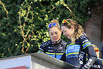 Tibco-Silicon Valley Bank at sign on before the Strade Bianche Women Elite 2019 running 133km from Siena to Siena, held over the white gravel roads of Tuscany, Italy. 9th March 2019.<br /> Picture: Eoin Clarke | Cyclefile<br /> <br /> <br /> All photos usage must carry mandatory copyright credit (© Cyclefile | Eoin Clarke)