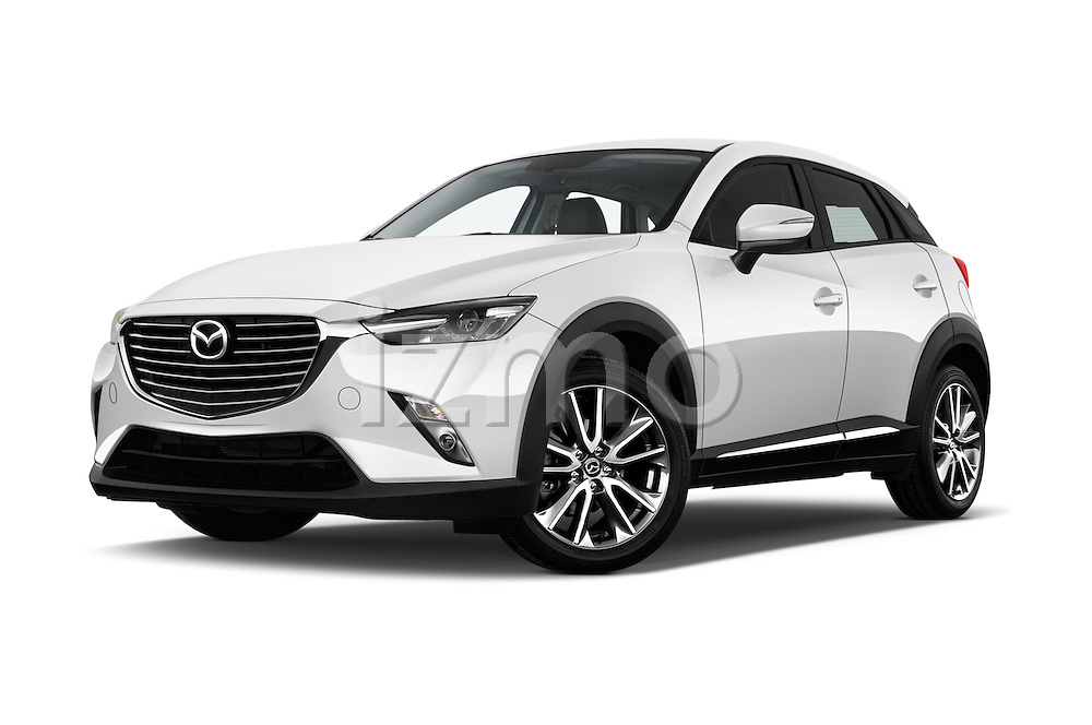 Stock pictures of low aggressive front three quarter view of 2015 Mazda CX-3 Pure Edition 5 Door Suv Low Aggressive