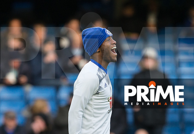 Michy Batshuayi of Chelsea seems happy as he warms up before the English Premier League match between Chelsea and Bournemouth at Stamford Bridge, London, England on 26 December 2016. Photo by Andy Rowland.