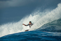 Namotu Island Resort, Namotu, Fiji. (Wednesday June 4, 2014) Wiggolly Dantas (BRA) – The 2014 Fiji Pro was called on again this morning with the swell running in the 3' -4' range. The contest started early with Round 2 and continued till late in the afternoon, ending with Heat 6 of Round 3.The conditions stayed contestable all day with some clean barrels around the bottom of the tide. Photo: joliphotos.com