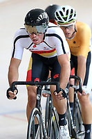 Nick Kergozou leads out front in the Elite Men Omnium 1, Scratch race 10km at the Age Group Track National Championships, Avantidrome, Home of Cycling, Cambridge, New Zealand, Saturday, March 18, 2017. Mandatory Credit: © Dianne Manson/CyclingNZ  **NO ARCHIVING**
