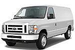 Front three quarter view of a 2009 Ford E 150 Cargovan.