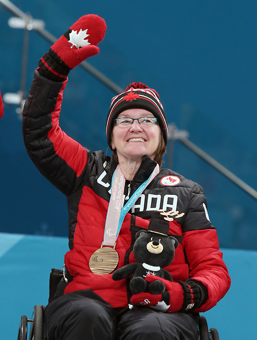 Pyeongchang, Korea, 17/3/2018--Marie Wright competes in the bronze medal game of wheelchair curling during the 2018 Paralympic Games. Photo: Scott Grant/Canadian Paralympic Committee.