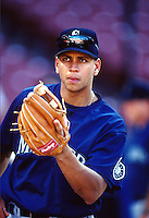 Alex Rodriguez of the Seattle Mariners at Anaheim Stadium in Anaheim,California during the 1996 season. (Larry Goren/Four Seam Images)