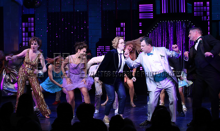 """Beth Leavel, Isabelle McCalla, Caitlin Kinnunen, Brooks Ashmanskas and Christopher Sieber during the Broadway Opening Night Curtain Call of """"The Prom"""" at The Longacre Theatre on November 15, 2018 in New York City."""