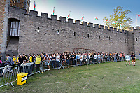 Pictured: Fans queue outside the castle. Saturday 29 June 2019<br /> Re: Manic Street Preachers concert at Cardiff Castle, south Wales, UK.