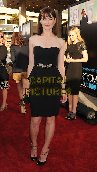 "Emily Mortimer.HBO's ""The Newsroom"" Los Angeles Premiere held at The Cinerama Dome, Hollywood, California, USA..June 20th, 2012.full length black strapless dress belt peplum .CAP/ROT/TM.©Tony Michaels/Roth Stock/Capital Pictures"