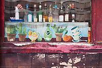 Europe/France/Ile de France/75010/Paris: Détail façade d'un bar , quai de Valmy sur les bords du Canal Saint-Martin