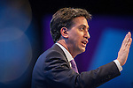 © Joel Goodman - 07973 332324 . No syndication permitted . 25/09/2013 . Brighton , UK . Labour Party Leader , ED MILIBAND , during the Q&A this afternoon (Wednesday 25th September 2013) . Day 4 of the Labour Party 's annual conference in Brighton . Photo credit : Joel Goodman