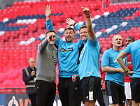Owners wave back to Graham Alexander manager of Salford City staff after the AFC Fylde vs Salford City, Vanarama National League Play-Off Final Football at Wembley Stadium on 11th May 2019