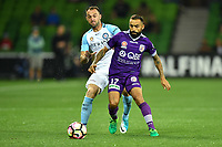 Melbourne, 23 April 2017 - IVAN FRANJIC (5) of Melbourne City and DIEGO CASTRO (17) of the Glory compete for the ball in the Elimination Final 2 of the A-League between Melbourne City and Perth Glory at AAMI Park, Melbourne, Australia. Perth won 2-0. Photo Sydney Low/sydlow.com