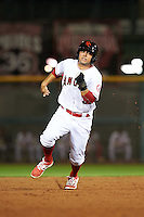 Scottsdale Scorpions David Fletcher (3), of the Los Angeles Angels of Anaheim organization, during a game against the Glendale Desert Dogs on October 14, 2016 at Scottsdale Stadium in Scottsdale, Arizona.  Scottsdale defeated Glendale 8-7.  (Mike Janes/Four Seam Images)