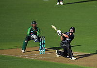 Colin Munro hits a six during the International Twenty20 cricket match between the NZ Black Caps and Pakistan at Westpac Stadium in Wellington, New Zealand on Saturday, 6 January 2018. Photo: Dave Lintott / lintottphoto.co.nz