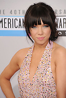 LOS ANGELES, CA - NOVEMBER 18: Carly Rae Jepson at The 40th Annual American Music Awards at The Nokia Theater LA Live, in Los Angeles, California. November 18, 2012. Photo by: MPI99 / MediaPunch Inc NortePhoto