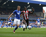 Marc Roberts of Birmingham City and Clayton Donaldson of Sheffield Utd during the championship match at St Andrews Stadium, Birmingham. Picture date 21st April 2018. Picture credit should read: Simon Bellis/Sportimage