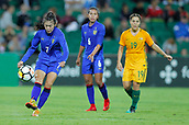 26th March 2018, nib Stadium, Perth, Australia; Womens International football friendly, Australia Women versus Thailand Women; Silawan Intamee of Thailand clears the ball out of Thailands half during the second half