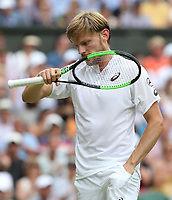 David Goffin (BEL) during his match against Novak Djokovic (SRB) in their Gentleman's Singles Quarter Final match<br /> <br /> Photographer Rob Newell/CameraSport<br /> <br /> Wimbledon Lawn Tennis Championships - Day 9 - Wednesday 10th July 2019 -  All England Lawn Tennis and Croquet Club - Wimbledon - London - England<br /> <br /> World Copyright © 2019 CameraSport. All rights reserved. 43 Linden Ave. Countesthorpe. Leicester. England. LE8 5PG - Tel: +44 (0) 116 277 4147 - admin@camerasport.com - www.camerasport.com