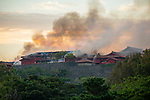 Smoke at Shurijo Castle in Naha on the morning of October 31, 2019 in Okinawa, Japan. A fire broke out at the World Heritage listed site during the early hours of the morning. (Photo by Kohayakawa Wataru/AFLO)