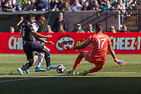 Portland, Oregon - Sunday October 6, 2019: Jeremy Ebobisse #17 tries is defended by Nick Lima #24 and Daniel Vega #17 during a regular season match between Portland Timbers and San Jose Earthquakes at Providence Park in Portland, Oregon.