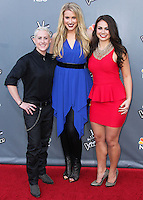 "UNIVERSAL CITY, CA, USA - APRIL 15: Kristen Merlin, Dani Moz, Tess Boyer at NBC's ""The Voice"" Season 6 Top 12 Red Carpet Event held at Universal CityWalk on April 15, 2014 in Universal City, California, United States. (Photo by Xavier Collin/Celebrity Monitor)"