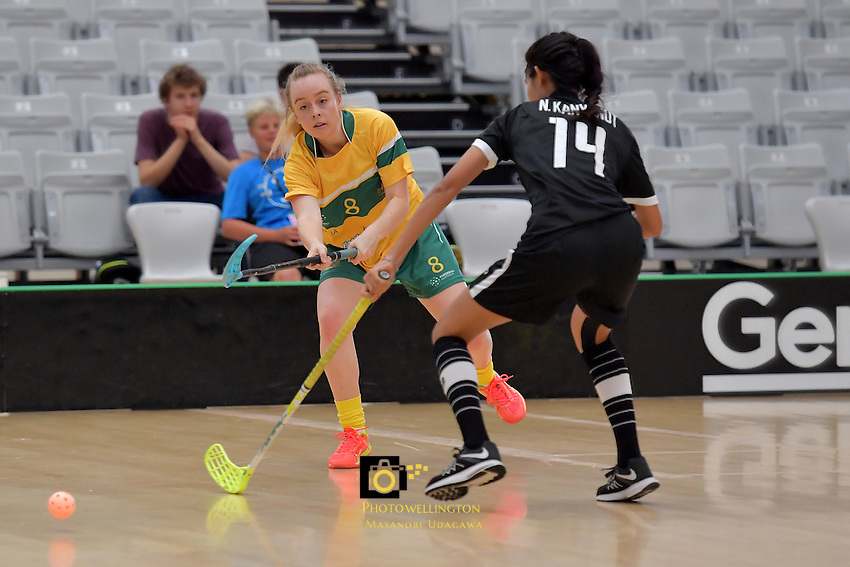 Australia&rsquo;s Isabelle Newland in action during the World Floorball Championships 2017 Qualification for Asia-Oceania Region - Thailand v Australia at ASB Sports Centre , Wellington, New Zealand on Wednesday 31 January 2017.<br /> Photo by Masanori Udagawa<br /> www.photowellington.photoshelter.com.