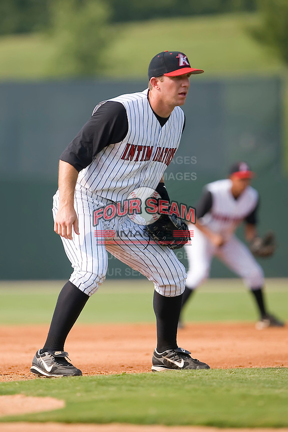 Brent Morel (33) of the Kannapolis Intimidators on defense at Fieldcrest Cannon Stadium in Kannapolis, NC, Sunday July 20, 2008. (Photo by Brian Westerholt / Four Seam Images)