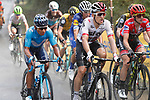 The heavens open on the peloton including Nairo Quintana (COL) Movistar Team, Michal Kwiatkowski (POL) Team Sky and race leader Simon Yates (GBR) Mitchelton-Scott during Stage 11 of the La Vuelta 2018, running 207.8km from Mombuey to Ribeira Sacra. Luintra, Spain. 5th September 2018.<br /> Picture: Unipublic/Photogomezsport | Cyclefile<br /> <br /> <br /> All photos usage must carry mandatory copyright credit (&copy; Cyclefile | Unipublic/Photogomezsport)