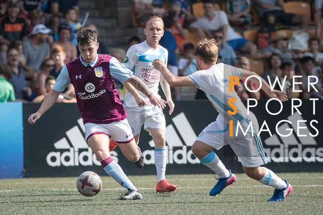 Aston Villa (in purple) vs Olympique Marseille (in white) during their Main Tournament Cup Semi-Final match, part of the HKFC Citi Soccer Sevens 2017 on 28 May 2017 at the Hong Kong Football Club, Hong Kong, China. Photo by Chris Wong / Power Sport Images