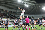 Ulster lock Dan Tuohy takes the line out ball.<br /> Guiness Pro12<br /> Ospreys v Ulster<br /> 20.12.14<br /> ©Steve Pope -SPORTINGWALES